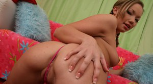Hottie with pigtails Maya Hills shows her sweet ass and spread cunt