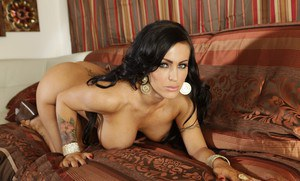 Latina babe with big boobs Jenna Presley strips to spread pussy
