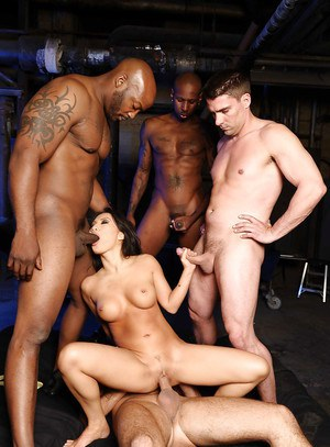Gorgeous wife Asa Akira gets into interracial foursome with big cocks
