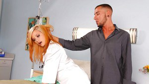 Horny doctor Brandi Belle helps her patient with ass fucking