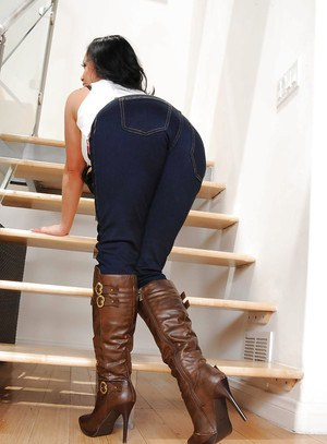 Asian MILF babe in boots Mya Luanna getting completely naked