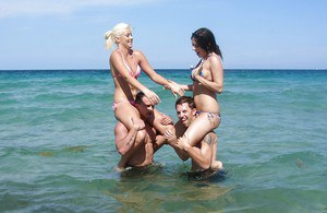 Teens Jazlyn, Shay and Savannah in bikini kissing at the party outdoor