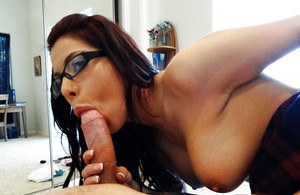 Amateur latina girlfriend Alexa Nicole in glasses strips for fucking