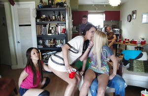 Teen babes Candace and Vanessa lick pussy and fuck at the party