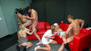Party teens Britney and Bella licking balls and fucking hard