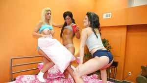 Teen babes Brooklyn and Brittney get naughty and strip naked