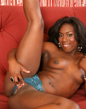 Ebony babe Janea Jolie strips to spread and feel her shaved twat