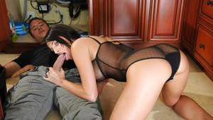 Hardcore with wife Kortney Kane taking off lingerie and giving blowjob