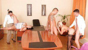 Big tits babes in hardcore groupsex in an office after nice blowjob