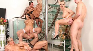 Big tits girls in stockings have groupsex after performing blowjob