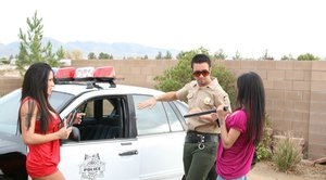 Latina milf babes Jenaveve and Alexis banged outdoor by policeman