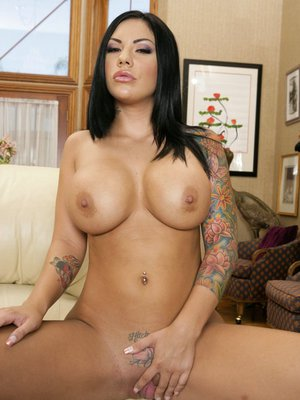Hot inked babe Mason Moore demonstrates tiny pussy and round breasts