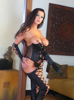 Stockings and lingerie are looking great on milf babe Nikita Denise