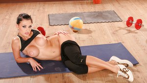 Luxurious flexy babe with nice ass and breasts makes sport exercises