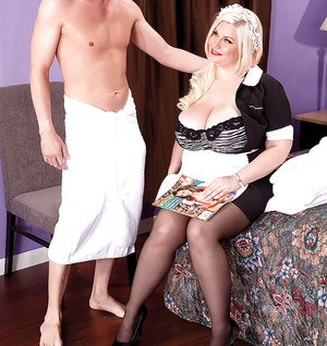 Fat MILF Bailey Santanna strips off maid uniform and shows juggs