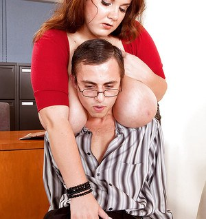Horny fatty Charlie Cooper seduces her co-worker for hot office sex