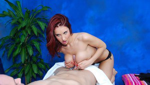 Redheaded massage girl with nice breasts enjoys hardcore sex at work