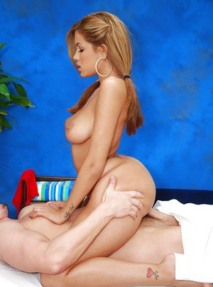 Busty massage girl strips off pink lingerie and devours a man pole