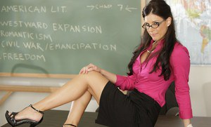 Sexy MILF teacher India Summer strips off lingerie and spreads pussy