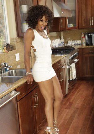 Sexy black babe Misty Stone demonstrates her big ass and perky boobs