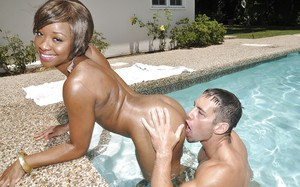 Black cutie Imani Rose gets her pussy hammered hardcore in the pool