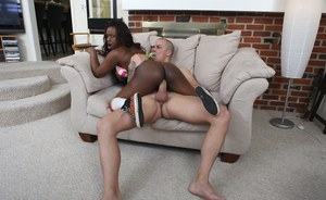Naughty black seductress Jada Fire getting fucked hard on the couch