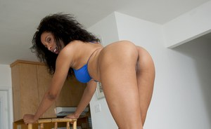 Sexy black babe Joy Luxx teasing her twat and showing hot booty