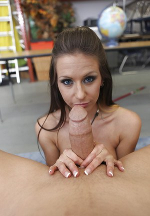 Busty babe Rachel Roxxx giving a titjob and a handjob to a thick cock