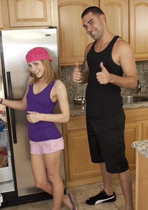 Slender teen babe Kasey Chase gives a handjob and gets a load on her