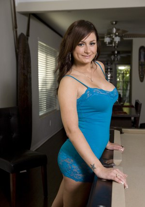 Busty MILF in miniskirt Penelope Tyler shows her boobs and pussy