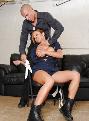 Sexy asian MILF in police uniform Mia Lelani interrogated and fucked