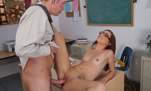 Naughty coed Maryjane Johnson gets banged hard in the class