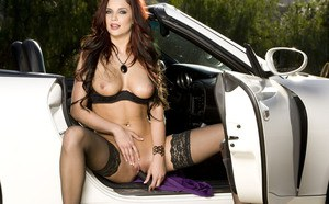 Busty babe Jayden Cole flaunting her dazzling body in stockings