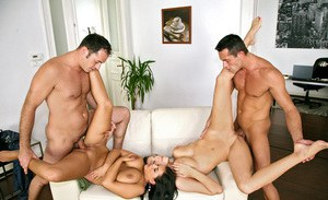 Busty european ladies getting off in hardcore group sex action