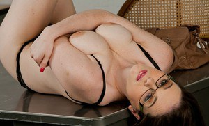 Shy college girl in glasses Tessa Lane strips and poses at school