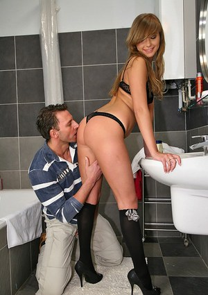 Lovely teen with sexy butt Jessica Lux gets fucked in the bathroom