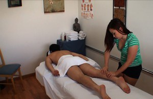 Cute asian girl with small tits Kita Zen gives a massage and fucks
