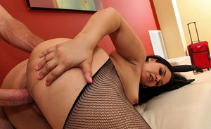 BBW latina in torn stockings and heels rams a cock in her MILF cunt