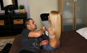 Young blonde in shiny pantyhose Ivana Sugar gets banged and jizzed