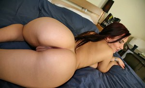 Big titted babe Lana Ivans flaunting her juicy butt and clit