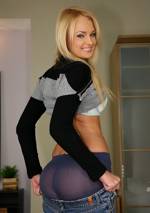 Blond babe Ivana Sugar takes off pantyhose and shows her juicy ass