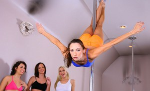 Four luxurious pole dancers starting spectacular lesbian orgy