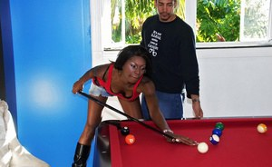 Black slut in jean skirt bent over the pool table and fucked