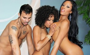 Ebony babes Misty Stone & Sky Banks enjoy hardcore threesome