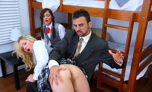 Two sexy school girls with pigtails got their young twats drilled