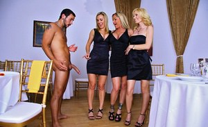 Three topnotch MILF babes stay clothed while playing with a giant cock