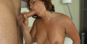 Hardcore anal with big dick makes milf Bellina squeeze her big tits