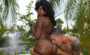 Diamond Mason gets her black ass covered in cum and oil after fucking