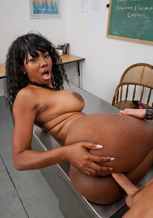 Big titted black MILF Nyomi Banxxx teaches a stud to fuck hardcore