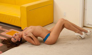 Sizzling wife Katie Jordin stripping nude and fondling her pink clit